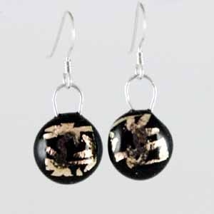 DCE-51 Black gold dichroic earrings