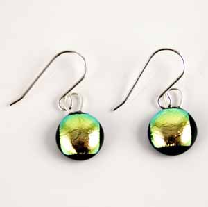 DCE-54 Green gold dichroic earrings