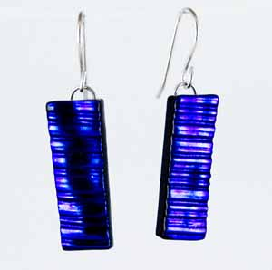 DCE-64 Blue textured dichroic earrings