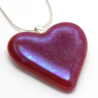 irridised red dichroic glass heart pendant