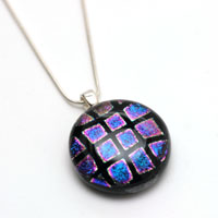 Small round dichroic glass pendant