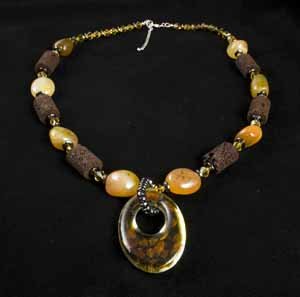 CARNELIAN LAVA STONE WOOD AND HEMATITE NECKLACE