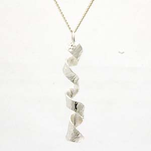 Silver spiral hammered effect pendant
