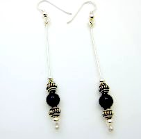 6mm Onyx beads and sterling silver drop earrings from Gracie Mae