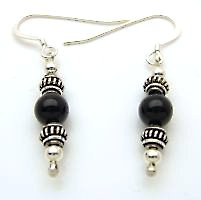 6mm Onyx beads and sterling silver short drop earrings from Gracie Mae