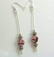 Earrings rhodonite discs with fancy silver beads on silver wire from Gracie Mae